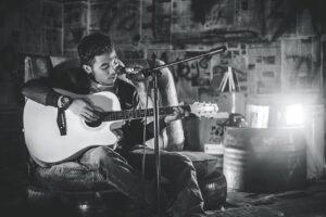 guitar, man, music